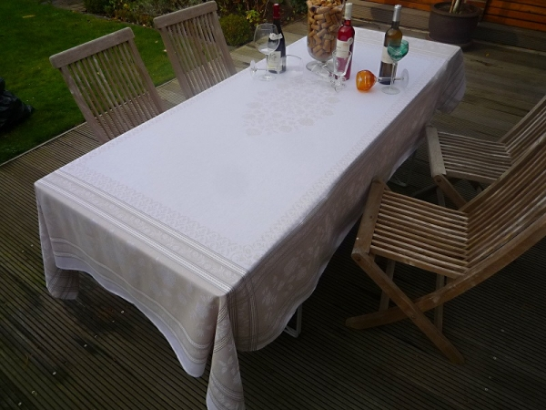 Tischdecke Provence 160x250 cm Baumwolle Jacquard Lagrange lin