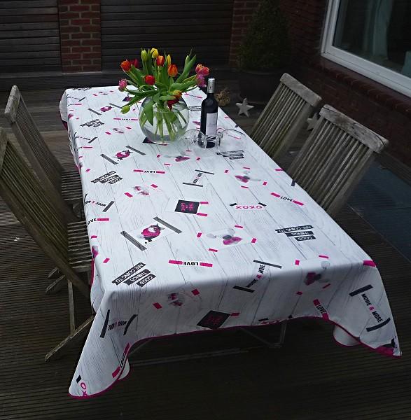 Tischdecke Provence 150x240 cm hellgrau Katzen und Hunde aus Frankreich