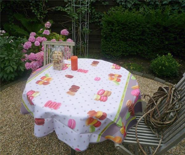 Tischdecke Provence 160 cm rund weiß Macarons aus Frankreich