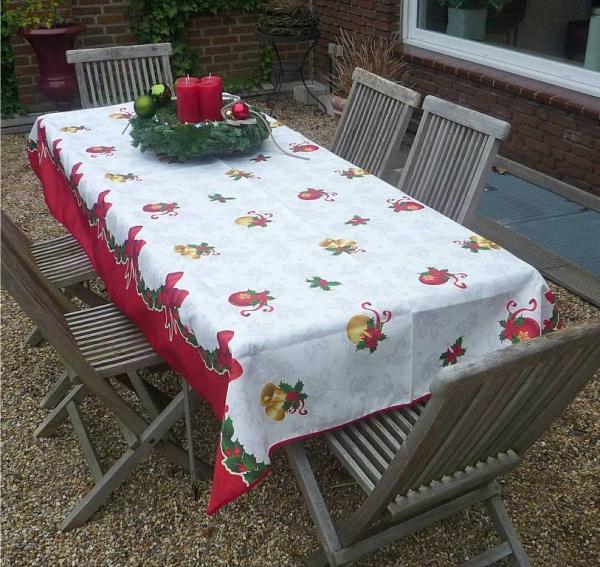 Tischdecke Provence 150x300 cm weiß rot Weihnachten aus Frankreich