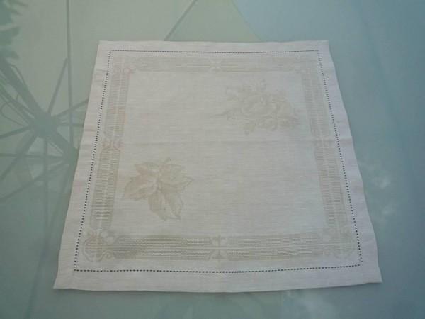 Serviette Jacquard Leinen 45x45 cm Fleurs nature mit Hohlsaum