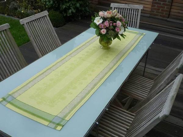Tischläufer Jacquard Leinen 50x170 cm Classique vert mit Hohlsaum