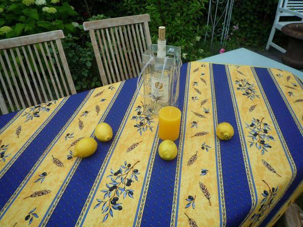 Tischdecke Provence 130x150 cm blau gelb Olivenmotiv aus Frankreich