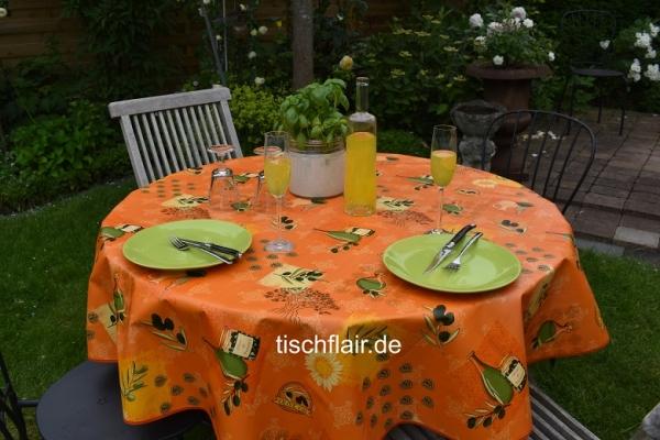Salut Olive! – Abwaschbare Tischdecke in terrakotta mit Oliven