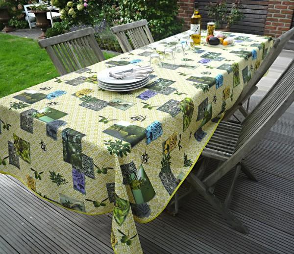 Tischdecke Provence 150x240 cm Olivenmotive grün aus Frankreich