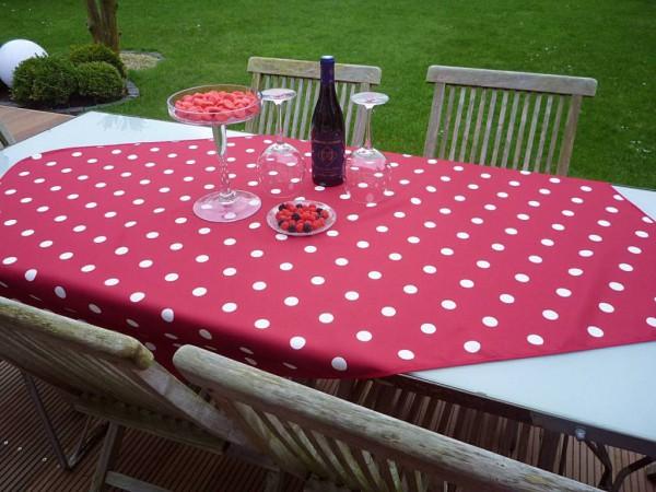 Tischdecke Provence 100x150 cm rot Punkte weiß aus Frankreich