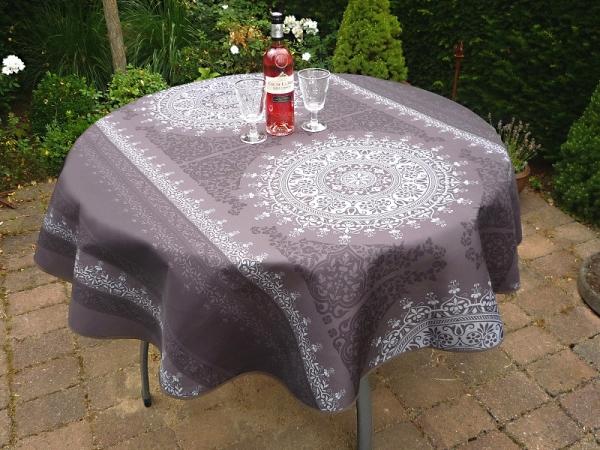 Tischdecke Provence 160 cm rund dunkelgrau Ornamentmotiv aus Frankreich