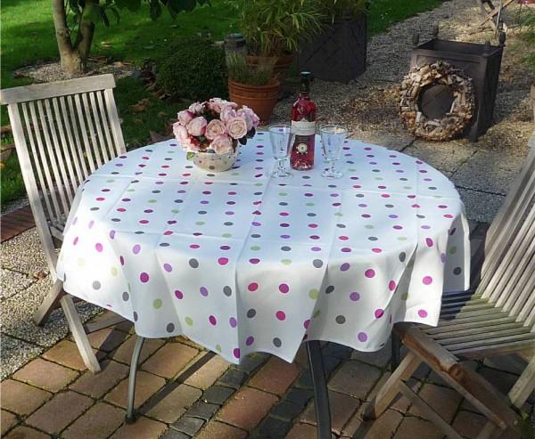 Tischdecke Provence 160 cm rund weiß Punkte bunt aus Frankreich
