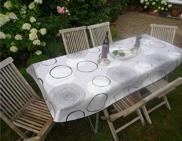 Tischdecke Provence 150x240 cm oval grau Kreismuster aus Frankreich