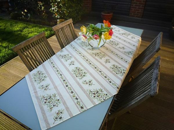 Tischdecke Baumwolle creme 120x155 cm Oliviers aus Frankreich Provence