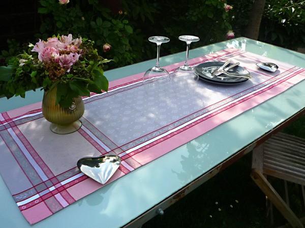Tischläufer Provence 50x150 cm Baumwolle Jacquard Mercier gris rosé
