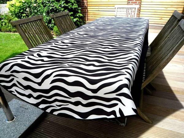 Tischdecke Provence 150x240 cm oval schwarz weiß Zebramuster aus Frankreich 3