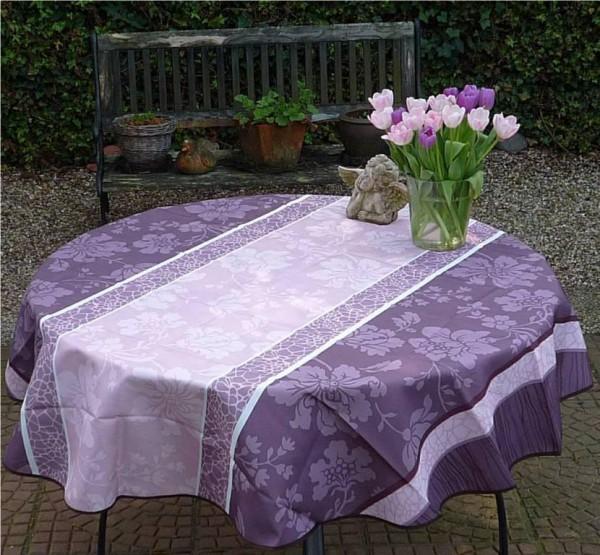 Tischdecke Provence 160 cm rund flieder taupe Blumenmotive aus Frankreich