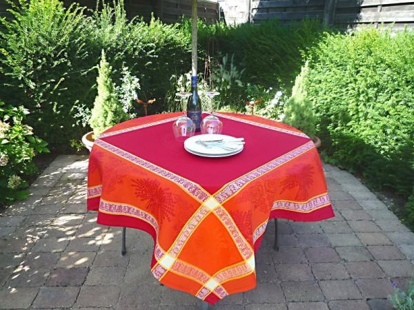 Der Wow-Effekt – Rot und Orange! Pflegeleichte Jacquard-Tischdecke Bonnaire Rot-Orange
