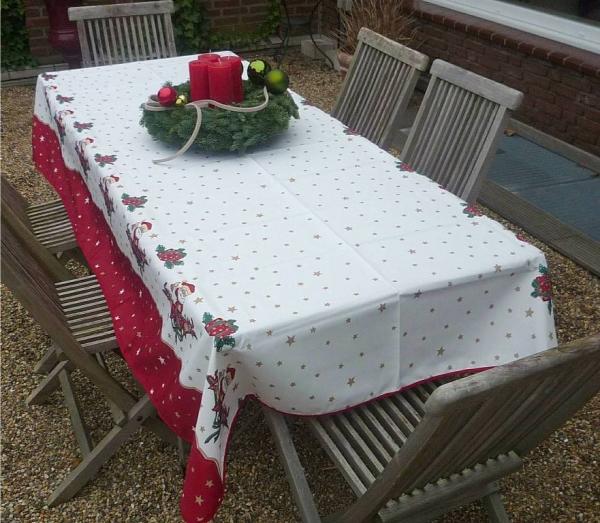 Tischdecke Provence 150x240 cm weiß rot Weihnachten aus Frankreich