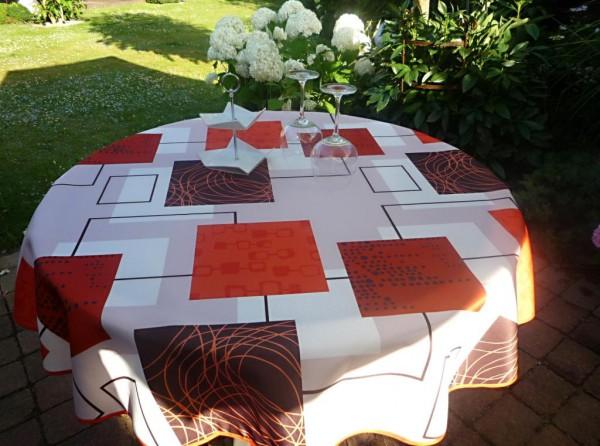 Tischdecke Provence 160 cm rund terrakotta beige Karomotiv aus Frankreich
