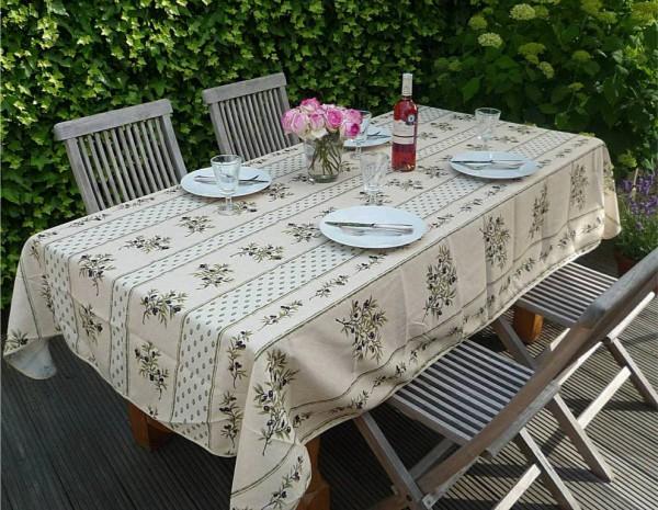 Tischdecke Provence 150x350 cm creme Olivenstreifen aus Frankreich