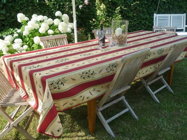 Tischdecke Provence 150x350 cm rot sand Olivenmotiv aus Frankreich