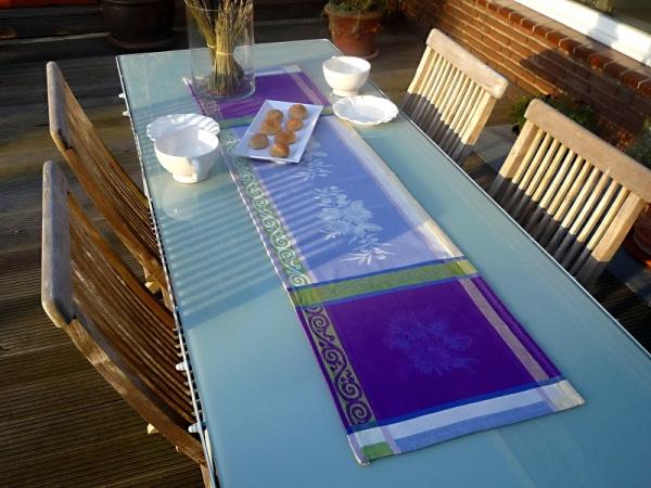 Tischläufer Provence 40x150 cm Baumwolle Jacquard Lilac