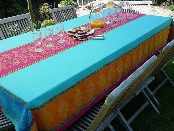 Tischdecke Jacquard Baumwolle 160x300 cm Chemin turquoise aus Frankreich Provence mit Teflonschutz