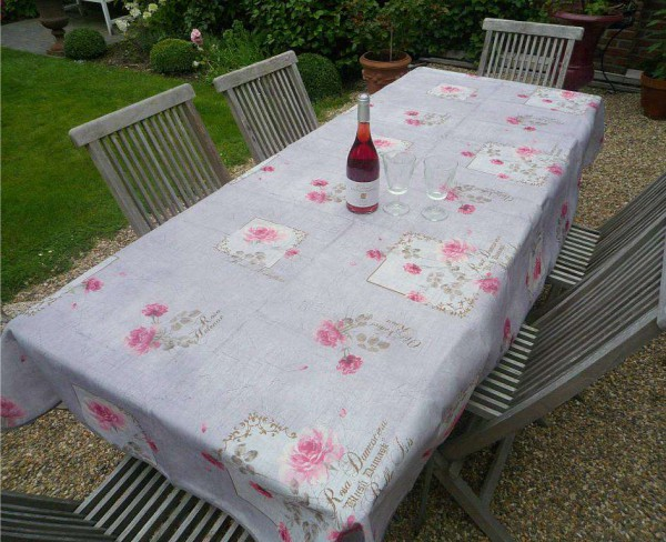 Tischdecke Provence 150x240 cm grau Rosenmotiv aus Frankreich