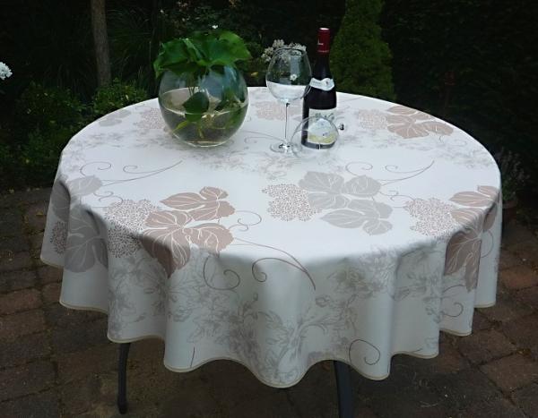 Tischdecke Provence 160 cm rund creme Blattmotiv aus Frankreich
