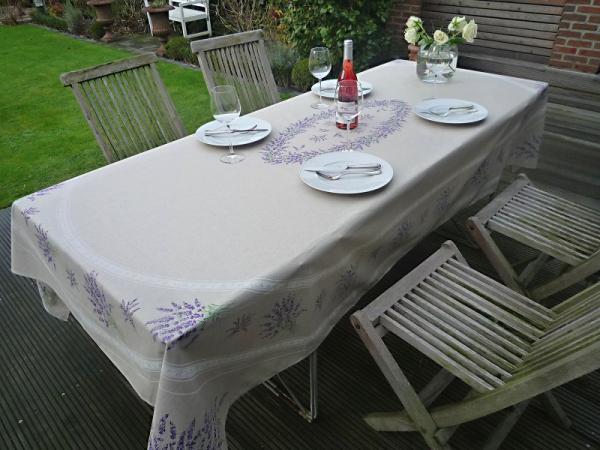 Tischdecke Baumwolle natur 160x250 cm Lavandine lin aus Frankreich Provence