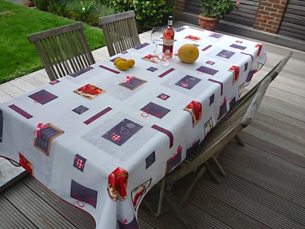 Süße Früchtchen - Hellgraue Tischdecke mit süßen Erdbeeren und Kirschen