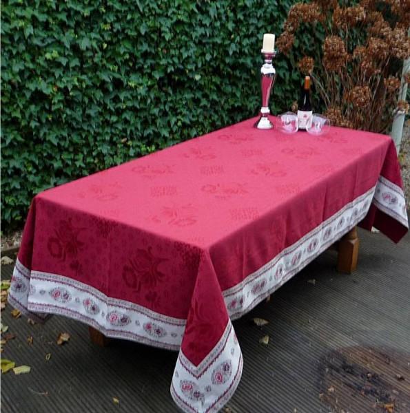 Tischdecke Jacquard DeLuxe 160x280 cm rouge Rose rouge Matelassé