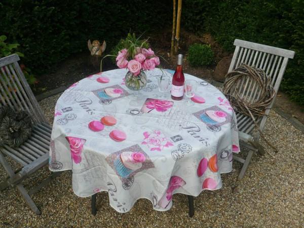 Tischdecke Provence 180 cm rund weiß mit Rosen- und Macaron-Motiven aus Frankreich