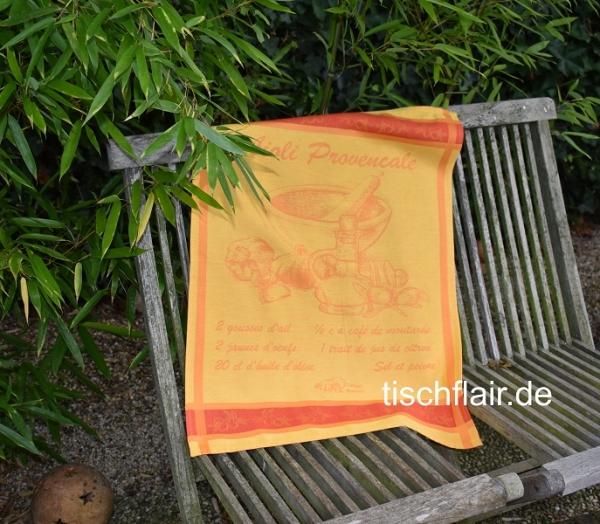 "Jacquard Geschirrtuch Baumwolle ""Aioli"" in gelb"