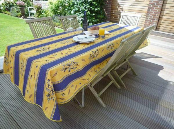 Tischdecke Provence 150x200 cm blau gelb Olivenmotiv aus Frankreich