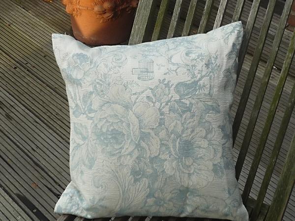Kissenhülle Jacquard Baumwolle Gobelin creme blau 40x40 cm Cheverny aus Frankreich Provence