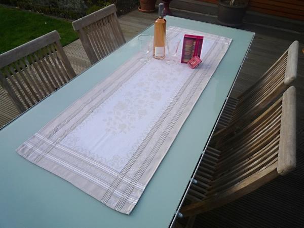 Tischläufer Jacquard Baumwolle natur 50x150 cm Lagrange lin aus Frankreich Provence mit Teflonschutz