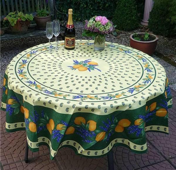 Tischdecke Provence 180 cm rund grün Zitronenmotiv aus Frankreich