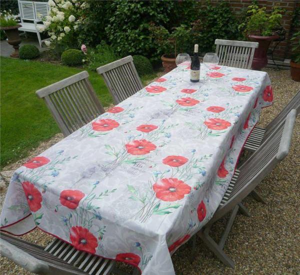 Tischdecke Provence 150x240 cm Mohnblumen grau aus Frankreich