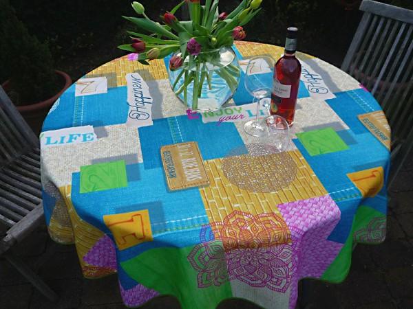 Für Individualisten - Tischdecke türkis gelb Karomuster