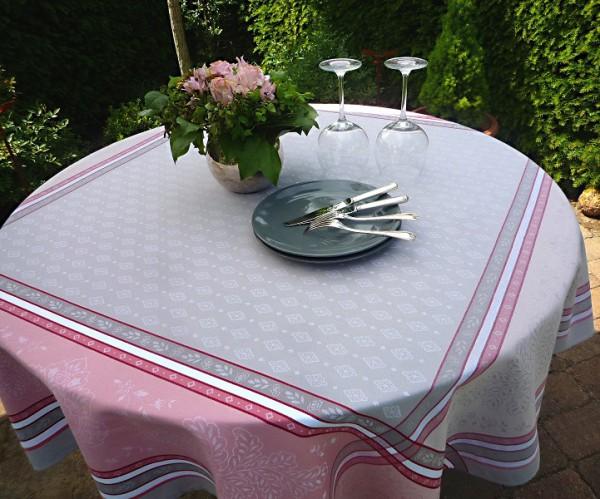 TISCHDECKE Provence 160x160 cm Baumwolle Jacquard Mercier gris rosé