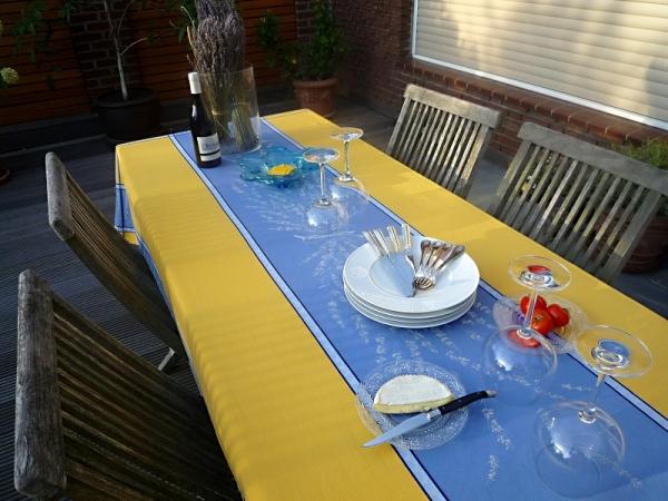 Tischdecke Jacquard Baumwolle 160x250 cm Valette jaune bleu aus Frankreich Provence mit Teflonschutz