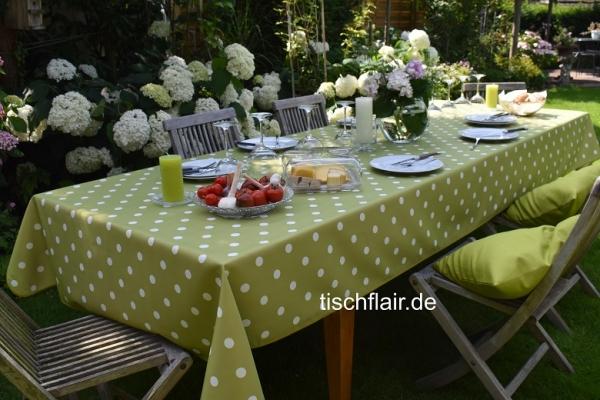 Grüne Power! - Fleckabweisende grüne Tischdecke mit weißen Tupfen