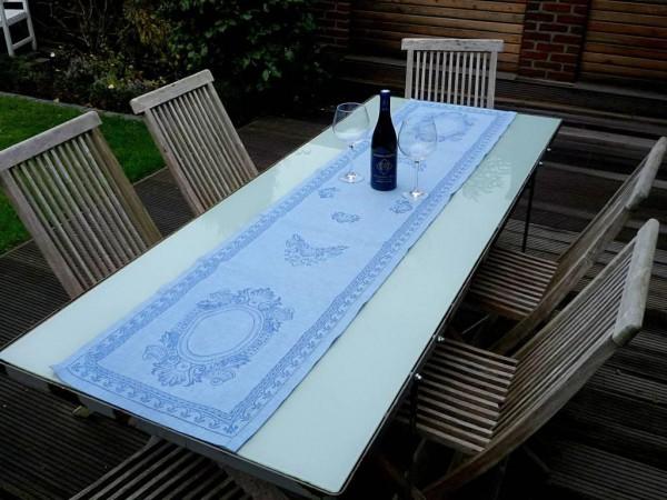 Ein Traum in Blau... Hochwertiger Leinen-Tischläufer Ovale bleu
