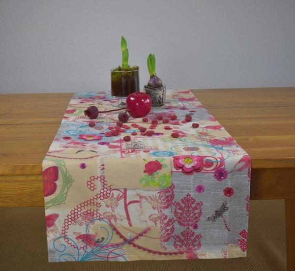 Romantische Impressionen! - Tischläufer Bernice in Creme und Pink