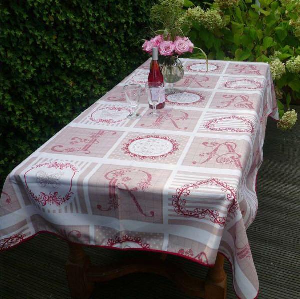 Tischdecke Provence 150x240 cm beige rot Monogramme aus Frankreich