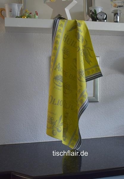 """Jacquard Baumwoll-Geschirrtuch """"Limousin"""" in frischem Gelb"""
